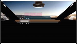 Runner up dash option. Displays up and out. Pink is driver-interactive display, blue is standard infotainment.