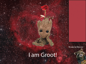 Original Groot idea. It'd open on a center fold and the flower would come out. Cute, but not up to par.